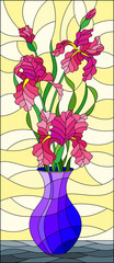 Illustration in stained glass style with floral still life,  bouquet of pink  irises in a blue  vase on a yellow  background