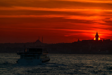 Galata Tower at Sunset in Istanbul City, Turkey