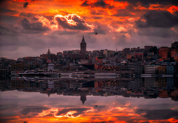 Galata Tower in Istanbul City, Turkey during Sunset