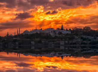 Topkapi Palace and the district. Silhouette during the sunset of the city from the Ottoman Sultans, Istanbul, Turkey.