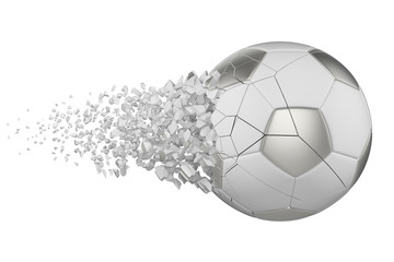 Shattering soccer ball 3D realistic raster illustration. Football ball with explosion effect. Isolated design element.