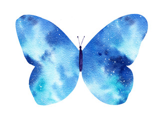 Watercolor galaxy butterfly isolated on the white background.