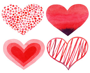 Set of Watercolor hand painted red hearts. Symbol of love.