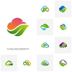Set of Nature Cloud Logo Design Concept Vector. Cloud with Leaf Logo Template Vector