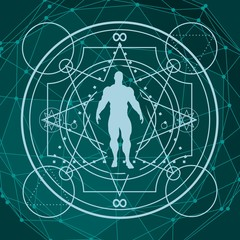 Witchcraft, occult and alchemy tattoo sign. Mystical vintage gothic geometry thin lines symbol with silhouette of a muscular man. Molecule and communication background. Connected lines with dots.