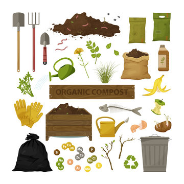 Set of cartoon flat icons. Organic compost theme. Garden tools, wooden box, ground, food garbage. Illustration of bio, organic fertilizer, compost, agronomy. Colored vector design