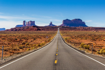 Photo on textile frame Route 66 Monument Valley seen from Forrest Gump Point
