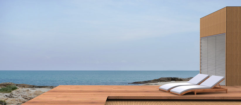 Beach lounges, sea and beautiful skies of summer vacation / sunny Sandy Ocean beach / Simple and modern