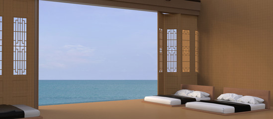 Bed Beach and Sea view - Modern / Peaceful luxury holiday in Asian / ,Summer , beach lounge, / Day bed on wooden terrace