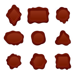 Vector set of wax seals of different shapes. Old-fashioned postal symbols. Decorative elements for invitation or letter