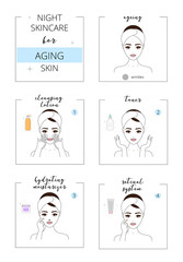 Beautiful girl with aging skin, face night care for acne skin. Line style vector illustration, isolated on white background.