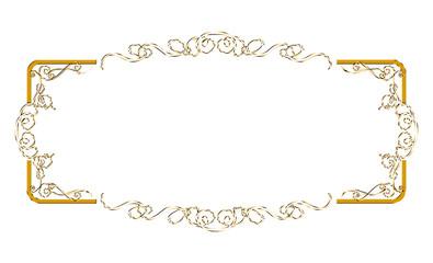 金属の質感のバロック調のフレーム・飾り罫・飾り囲み(白バック)|ゴールド 金|ベクターデータ