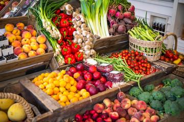 Colourful farmers market vegetable and fruit arrangement for sale