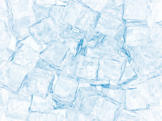 Background from large ice cubes of blue color. 3d illustration
