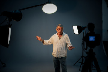 Actor in front on the camera in an audition