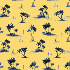 Watercolor abstract tropical vector pattern