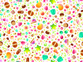 Cute seamless pattern with colorful sweets, cakes, lollipops. Cartoon seamless pattern with candy and sweet dessert. Fun colorful sweet pattern with candy, ice cream, round lollipops. Candy pattern