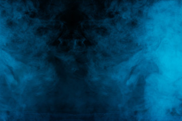a bright and mystical blue steam thick cloud is like a fog an exciting abstraction