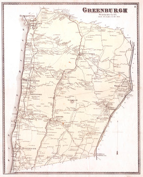 1867, Beers Map of Westchester, White Plains, Scarsdale, Hastings, New York