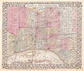1867, Mitchell Map of Philadelphia, Pennsylvania