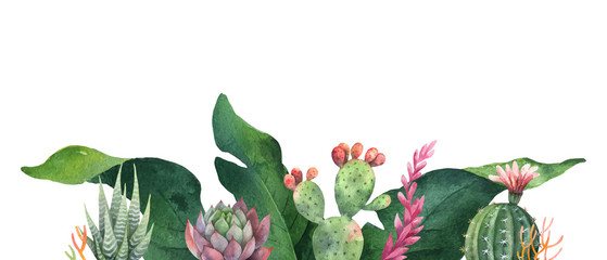 Watercolor vector banner tropical leaves and cacti isolated on white background.