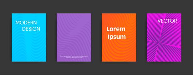 Set of modern cover designs on dark background. Vector illustration suitable for flyers, brochures, banners.