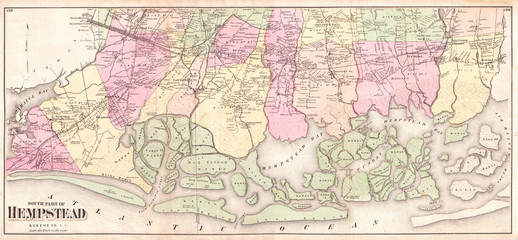 1873, Beers Map of South Hempstead, Long Island, New York