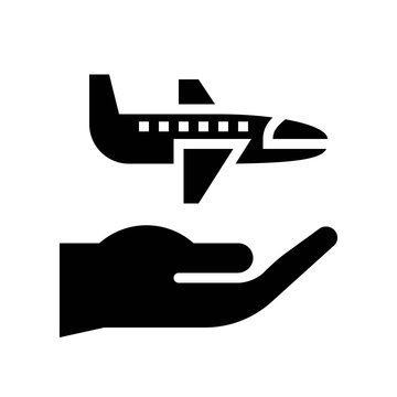 Aviation insurance vector, insurance related solid style icon