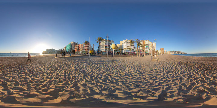 360 degree spherel panoramic photo taken in Benidorm Alicante in Spain Beautiful Playa Levante Beach