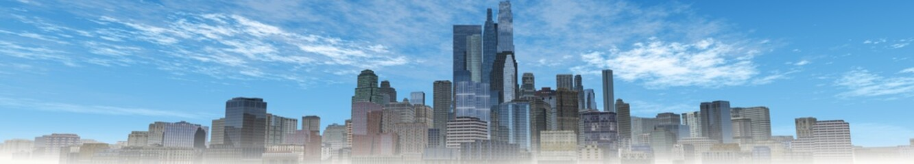 Panorama of the modern city, city against the sky, skyscrapers panorama, 3d rendering