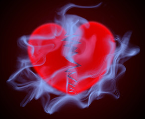 Heart with smoke, heart disease