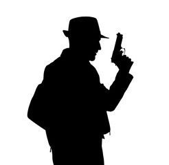 Black silhouette of man with gun on white background