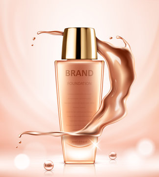 Realistic cosmetic ads template with liquid foundation tube and splashes of tonal fluid. Vector realistic illustration