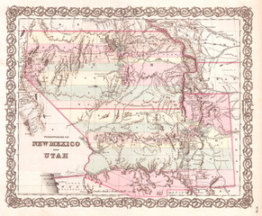 1855, Colton Map of Utah and New Mexico, first edition, first state
