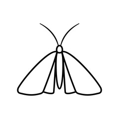 Clothing moth outline icon. Clipart image isolated on white background