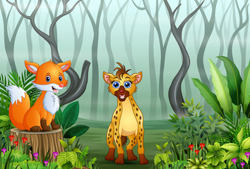 Animals cartoon in a foggy forest with views of dry tree branches