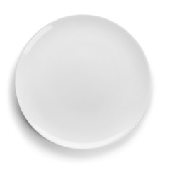 Clean empty plate on white background