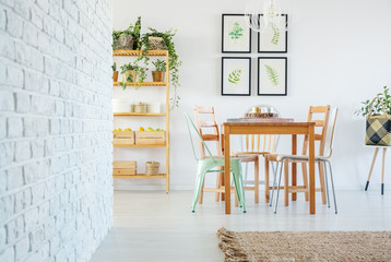 Stylish dining room interior with wooden communal table and wooden and metal chairs, gallery of floral posters on the white empty wall