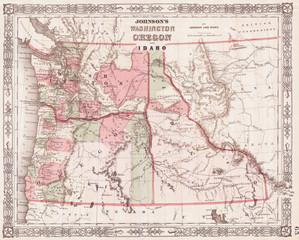 1864, Johnson Map of Washington, Oregon and Idaho