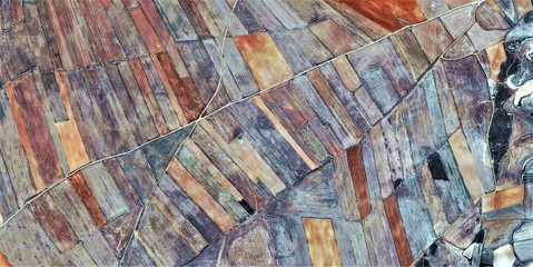 Obraz vanishing point, tribute to Picasso, abstract photography of the Spain fields from the air, aerial view, representation of human labor camps, abstract, cubism, abstract naturalism, - fototapety do salonu