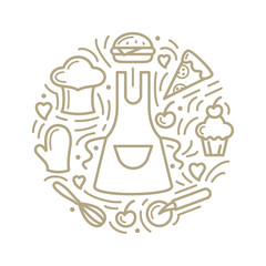 Vector illustration with food, apron and additional items. Line style round concept - fototapety na wymiar