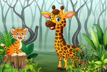 View of forest plants in the fog with a tiger and giraffe