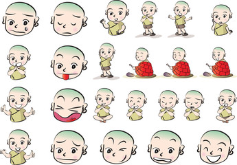 cartoon Little monk vector