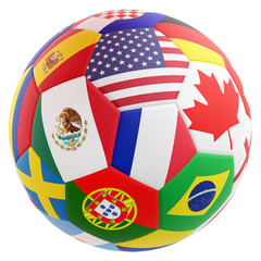 soccer ball Mexico USA Canada flags design 3d-illustration
