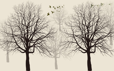 Beige background, flying birds, black and gray contours of trees