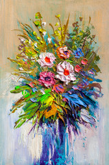 Oil painting a bouquet of flowers .