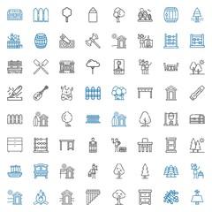 wood icons set
