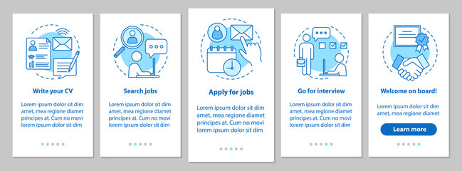 Job searching onboarding mobile app page screen with linear conc