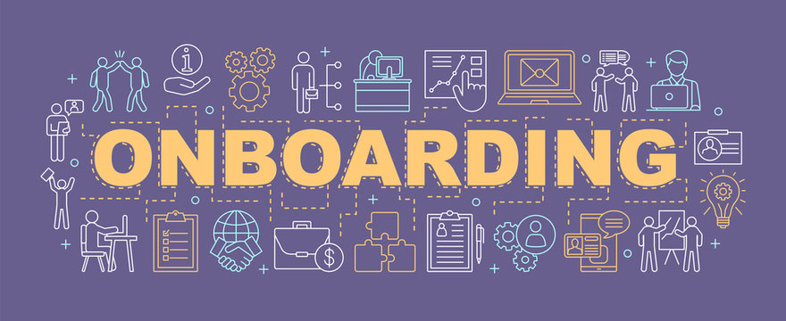 Employee onboarding process word concepts banner