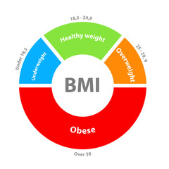 BMI or body mass index dial chart. Clipart image isolated on white background